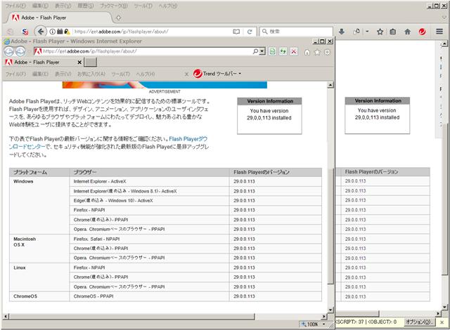 Adobe Flash Player 29.0.0.113 のテスト。