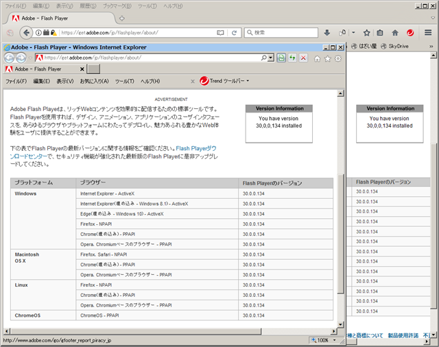 Adobe Flash Player 30.0.0.134 のテスト。