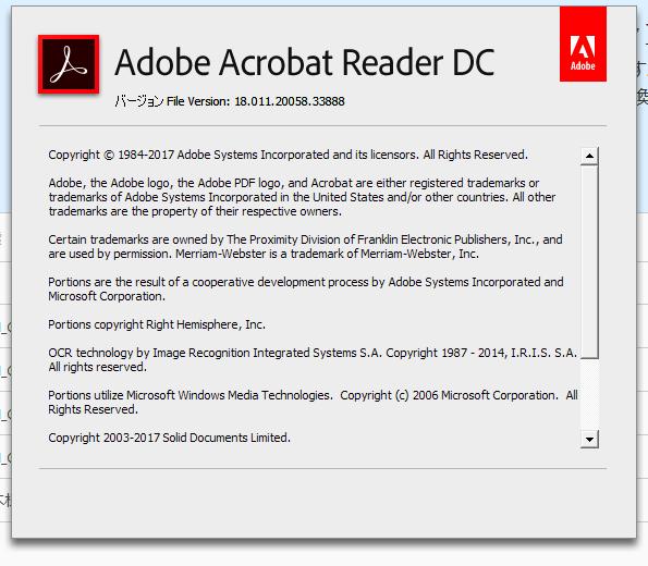 Adobe Acrobat Reader DC 18.011.20058 詳細バージョン情報。