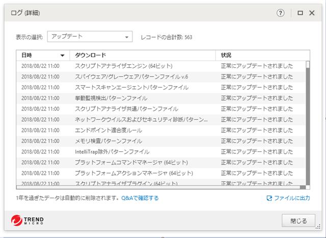 ウイルスバスター 12.0.1226 のアップデートログ。