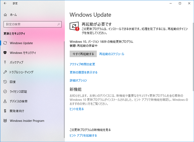 2018年10月の Microsoft Update 。(Windows 10 [1809] )