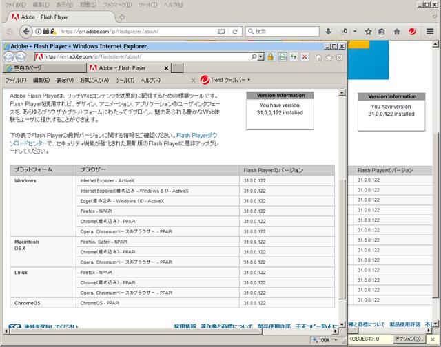 Adobe Flash Player 31.0.0.122 のテスト。