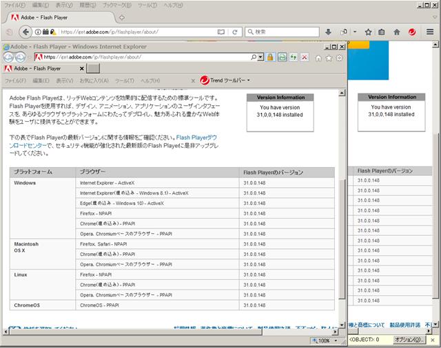 Adobe Flash Player 31.0.0.148 のテスト。