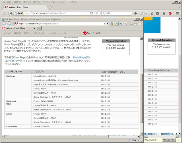 Adobe Flash Player 31.0.0.153 のテスト。