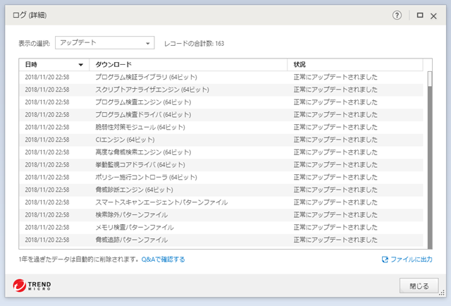 ウイルスバスター 15.0.1204 のアップデートログ。