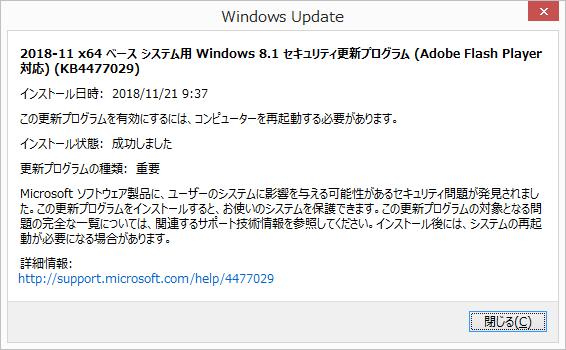 2018年11月の Microsoft Update 履歴。(Windows 8.1 、定例外)
