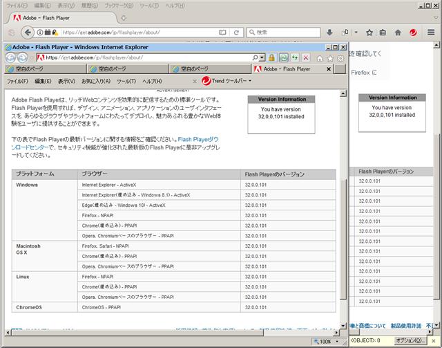 Adobe Flash Player 32.0.0.101 のテスト。