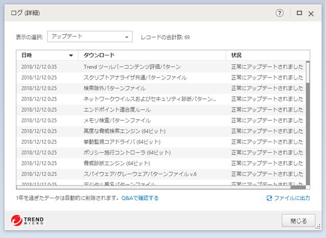 ウイルスバスター 15.0.1212 のアップデートログ。