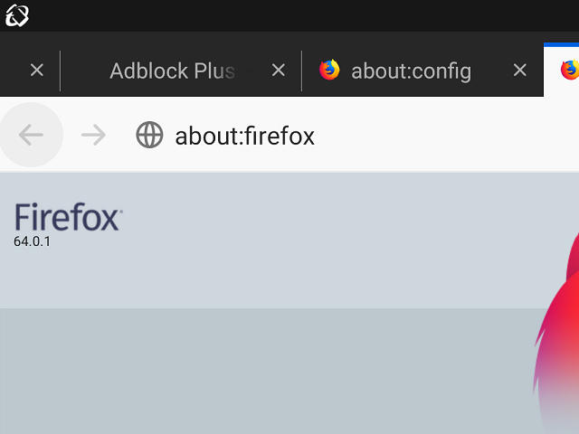 Firefox 64.0.1 。(Android版)