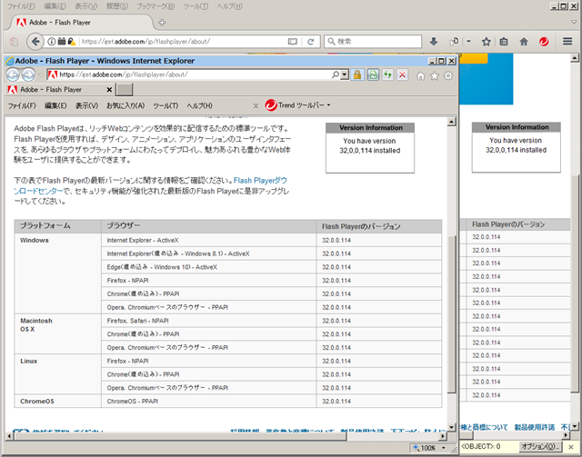 Adobe Flash Player 32.0.0.114 のテスト。