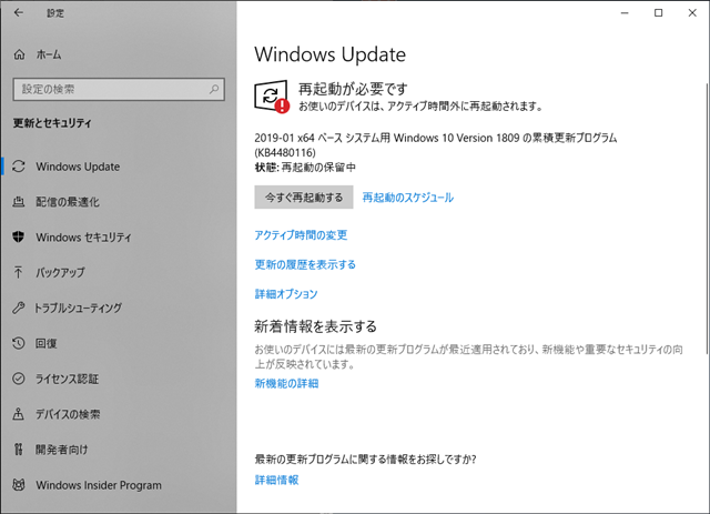 2019年01月の Microsoft Update 。(Windows 10 [1809])
