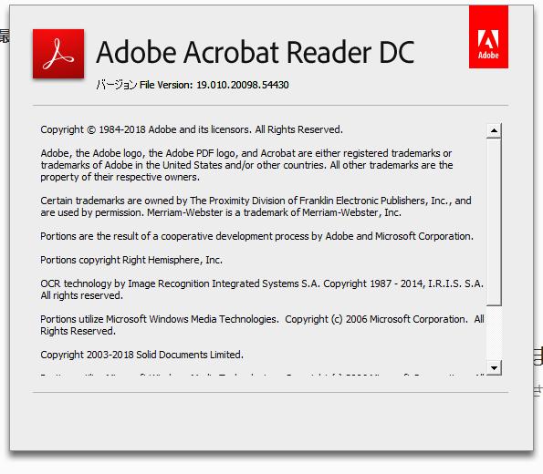 Adobe Acrobat Reader DC 19.010.20098 詳細バージョン情報