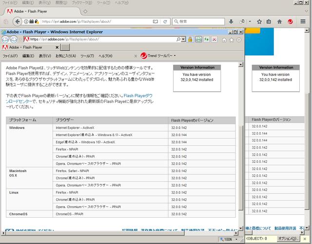 Adobe Flash Player 32.0.0.142 のテスト