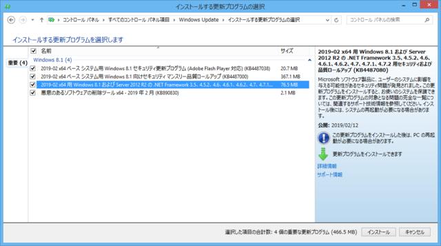 2019年02月の Microsoft Update 。(Windows 8.1)