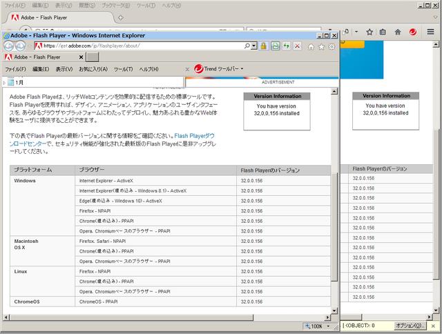Adobe Flash Player 32.0.0.156 のテスト