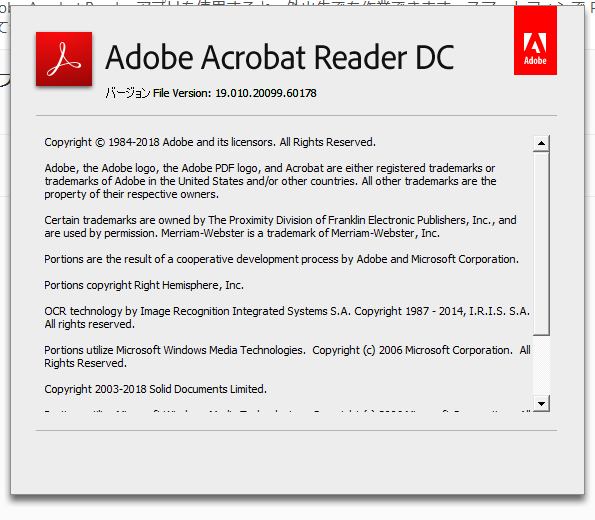 Adobe Acrobat Reader DC 19.010.20099 詳細バージョン情報