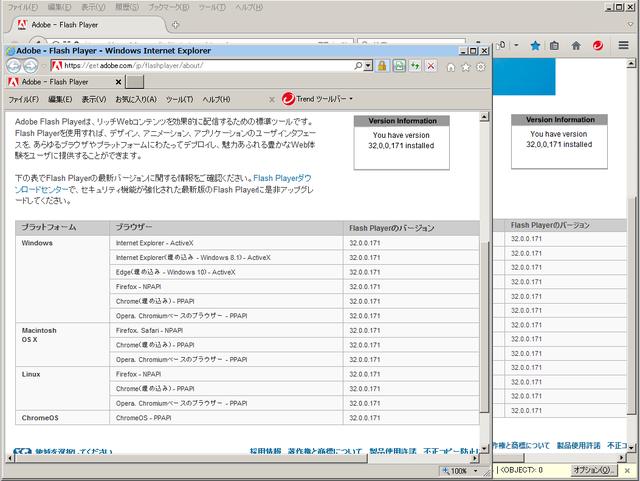 Adobe Flash Player 32.0.0.171 のテスト