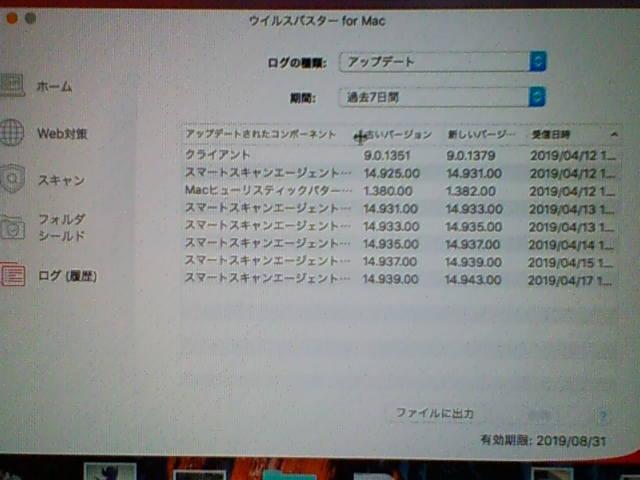 ウイルスバスター for Mac 9.0.1379 アップデートログ