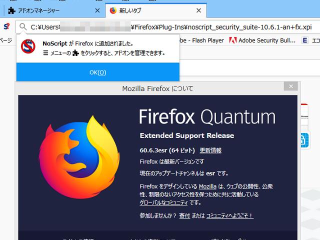 Firefox ESR 60.6.3 で正常化
