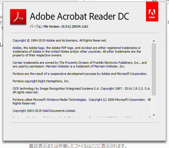 Adobe Acrobat Reader DC 19.012.20034 詳細バージョン情報