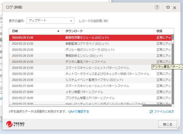 ウイルスバスター 15.0.1231 のアップデートログ (その3)