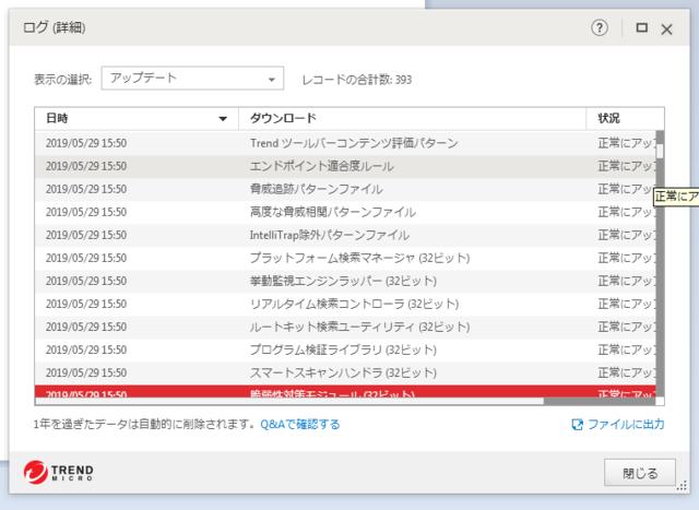 ウイルスバスター 15.0.1231 のアップデートログ (その2)