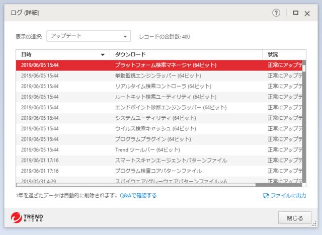 ウイルスバスター 15.0.1231 のアップデートログ 64bit版 (その3)