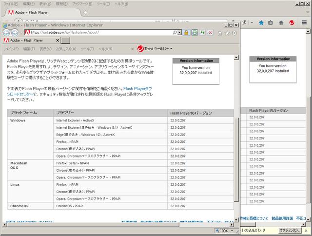 Adobe Flash Player 32.0.0.207 のテスト