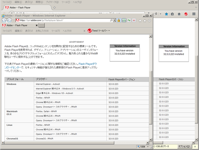 Adobe Flash Player 32.0.0.223 のテスト