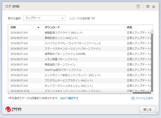 ウイルスバスター 15.0.1231 のアップデートログ 64bit版