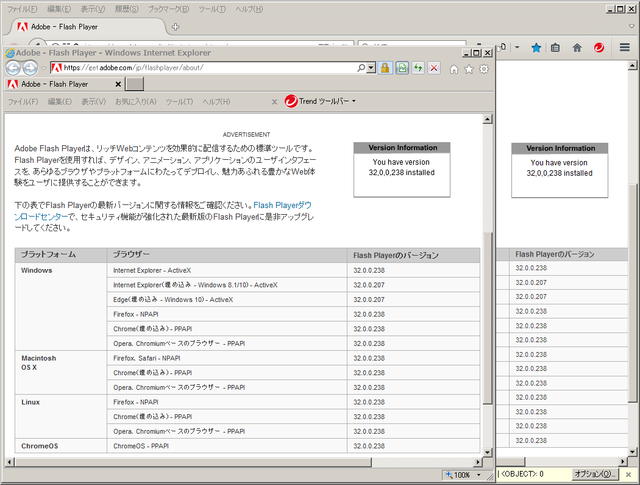 Adobe Flash Player 32.0.0.238 のテスト