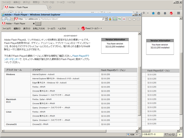 Adobe Flash Player 32.0.0.255 のテスト