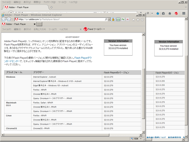 Adobe Flash Player 32.0.0.270 のテスト