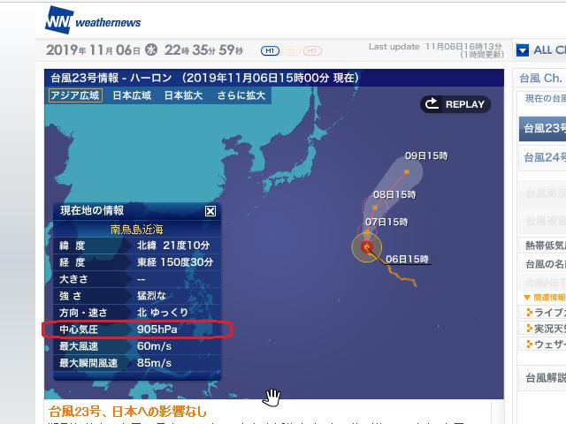 颱風 23号 2019-11-06