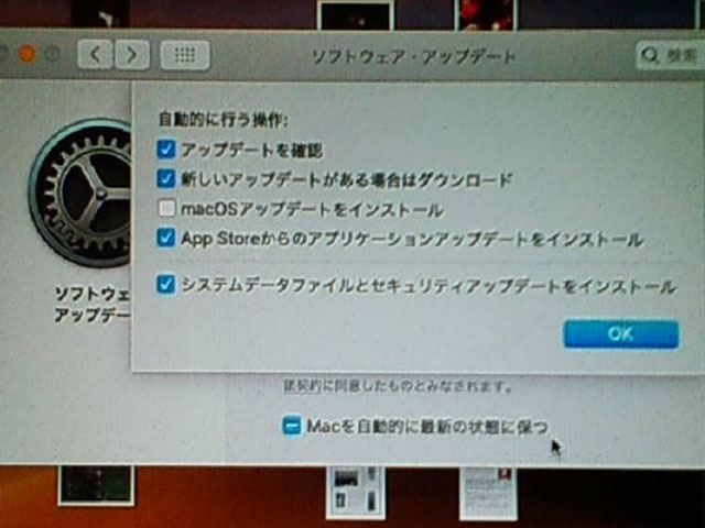mac OS Mojave アップデートオプションの調整
