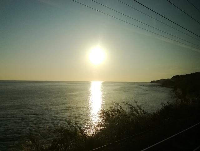 くろしおの車窓から見た夕日