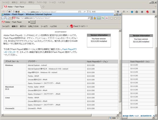 Adobe Flash Player 32.0.0.293 のテスト
