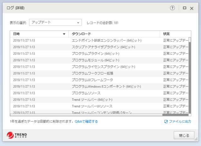 ウイルスバスター 16.0.1227 のアップデートログ 64bit版