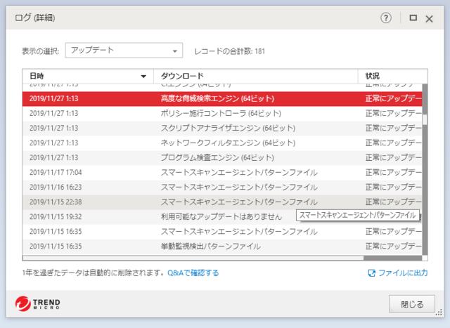 ウイルスバスター 16.0.1227 のアップデートログ 64bit版 その4