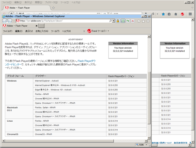 Adobe Flash Player 32.0.0.321 のテスト