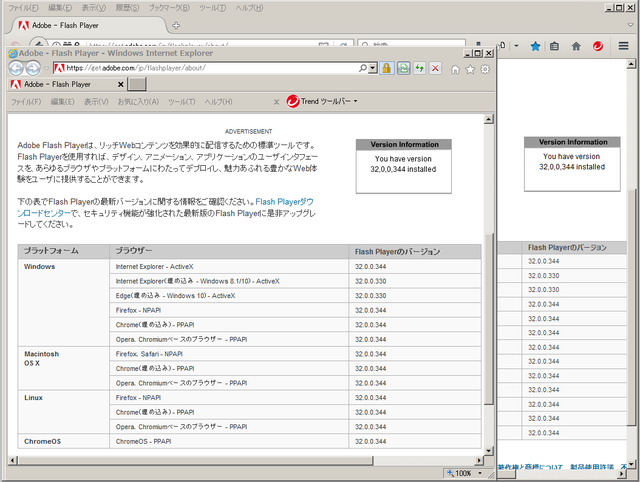 Adobe Flash Player 32.0.0.344 のテスト