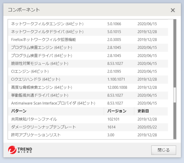 ウイルスバスター 16.0.1378 のアップデートログ 64bit版 その6