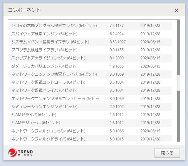 ウイルスバスター 16.0.1378 のアップデートログ 64bit版 その5