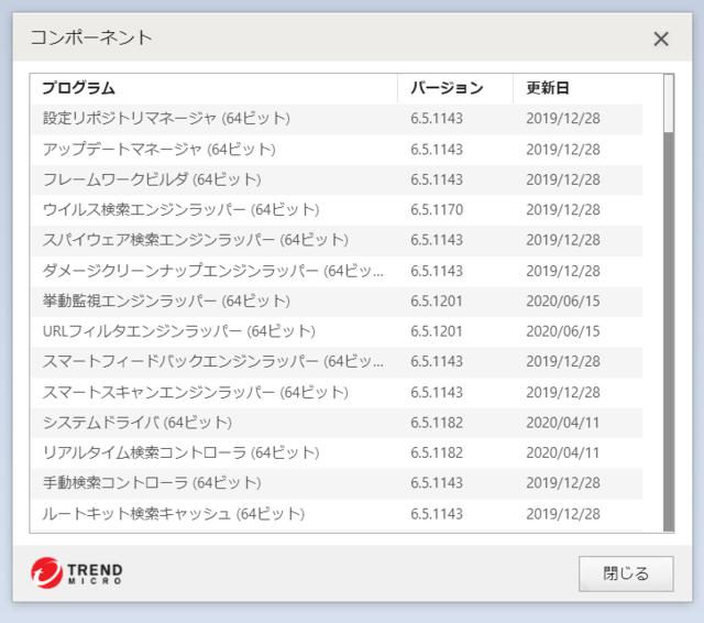 ウイルスバスター 16.0.1378 のアップデートログ 64bit版 その1