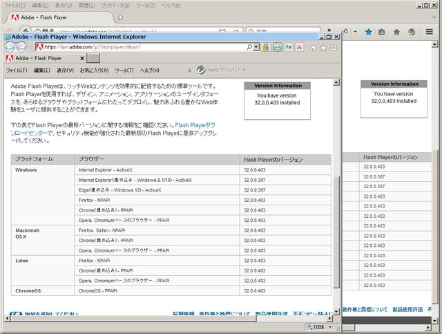 Adobe Flash Player 32.0.0.403 のテスト