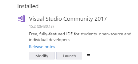 Visual Studio 2017 を日本語でインストールした後で English に変更する