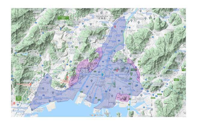 UberEats 広島のエリア地図です。