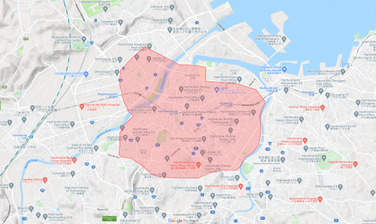 Uber Eats八戸市の配達可能エリアの地図