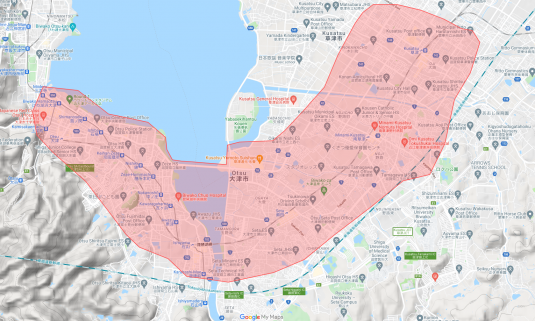 Uber_大津市の配達可能エリア