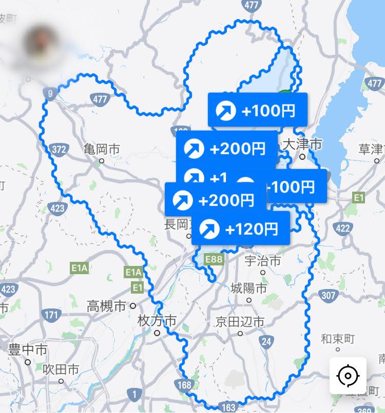 DiDiFood京都の配達エリア
